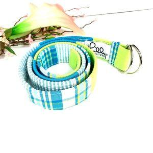 Lilly Pulitzer Green Blue Plaid D-Ring Belt Medium